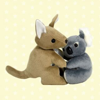 Best friends and native marsupials to Australia, the kangaroo and koala stuffed animals are hugging, snuggling and cuddling. Made by Jumbuck with ultra-soft finest plush material.