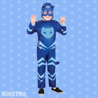 Meet Leader of the PJ Masks' Catboy, the pyjama clad hero who is a school boy by day, superhero by night! Connor is a blue-eyed, brown haired child who transforms into a blue cat with ears and a feline tail.