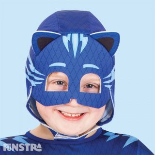 'By my cat's whiskers!' The Catboy glow in the dark costume features a soft fabric headpiece with 3D stand up cats ears and velcro closures. As leader of the group, Catboy has super-hearing using Cat Ears, can leap high and far using Super Cat Jump, and sprints fast using Super Cat Speed, when he puts on his pyjamas and activates his animal amulets. His chosen vehicle is the Cat-car.