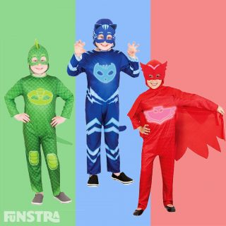 It's time to be a hero! The official licensed Catboy, Owlette and Gekko costumes from Rubies feature a glow in the dark jumpsuit with a soft fabric headpiece that will impress any child that loves PJ Masks.