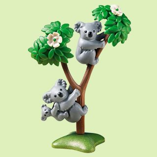 Enjoy an afternoon nap with the Koala Family from Playmobil. The building kit playset includes two adult koalas, one baby koala, and tree with flowers. Young animal lovers will have a blast with this hands-on animal set that encourages children to explore and learn while having fun.