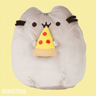 Pusheen can't wait to take a bit of her pepperoni pizza. This classic lounging Pusheen plush toy features the kitty satisfying her savory cravings with a delicious slice of pepperoni pizza made from super soft material.