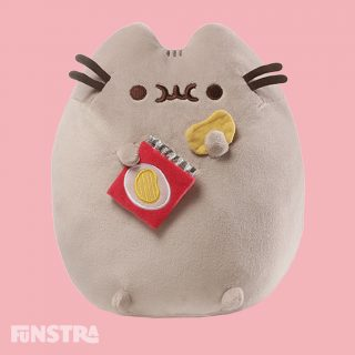 Enjoy some potato chips with Pusheen the tabby cat. Bring home your favorite snack and your favorite kitty with this super soft and lovable Potato Chip Pusheen Plush. Give the plush potato chip a squeeze to hear a satisfying crinkle!