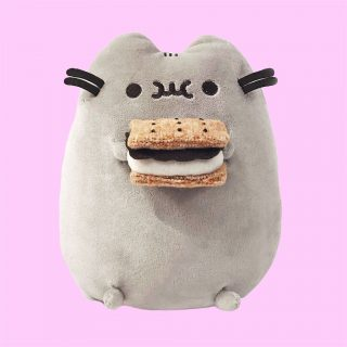 Guess who loves S'mores...Pusheen! The warm chocolate, toasted marshmallow and graham cracker is also one of Pusheen's favorite treats. Give her a hug and she might let you take a bite.