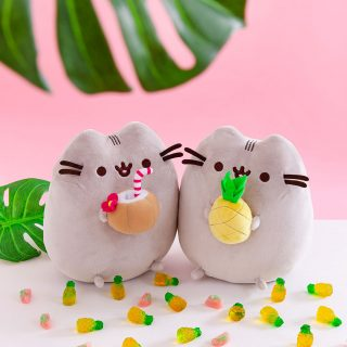 The sweetest party of Summer features tropical Pusheen plushies, sipping on a coconut drink and holding a pineapple, available exclusively at IT'SUGAR.