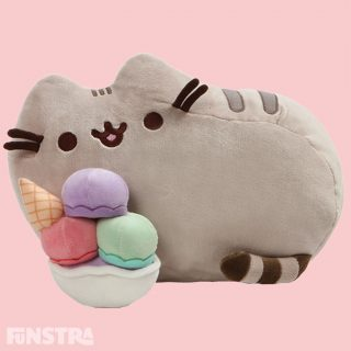 Pusheen gives new meaning to a Lazy Sundae with this sweet and adorable plush, enjoying a delicious ice cream sundae, complete with an ice cream cone in a bowl, with toe bean embroidered paw details across the bottom of the plush stuffed toy.