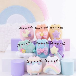 The Pusheen Surprise Rainbow Plush are the cutest mini plush at approximately 3 inches tall, each with a metallic silver latch to use as a plush keychain.