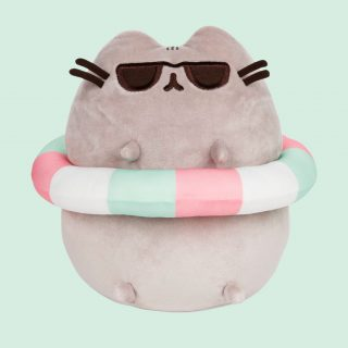 Pusheen is ready for fun in the sun in a pastel-striped tube and embroidered sunglasses and face details.