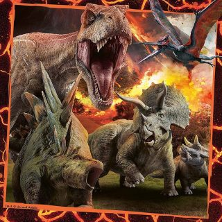 The Ravensburger Jurassic World Instinct to Hunt Jigsaw Puzzle features 3 highly artistic images of dinosaurs on the hunt from the Animals collection each of which has been precision cut into 49 piece puzzles.