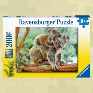 Ravensburger Puzzle showcases a koala with baby joey on her back. The 200 piece jigsaw puzzle enhances cognitive development and problem solving skills.