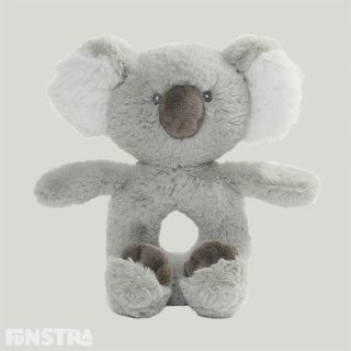 GUND proudly presents the Baby Toothpick Koala Rattle that is inspired by one of our most-loved personality bears with a spoon shaped nose and fluffy ears, the ring rattle for babies is made from premium soft baby plush in grey with embroidered accents and is machine-washable.
