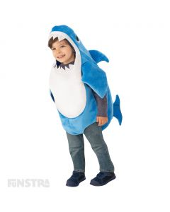 Dress up as Daddy Shark with this blue plush romper with fins of the Daddy Shark character, that features a sound chip within the costume that plays the famous Baby Shark song.