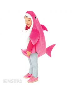 Dress up as Mummy Shark with this pink plush romper with fins of the Mummy Shark character, that features a sound chip within the costume that plays the famous Baby Shark song.