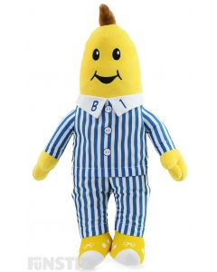 B1 plush soft toy is soft and cuddly is his classic blue and white striped pyjamas with embroidered facial features and is large and huggable in size for lots of cuddles and fun pretend play.