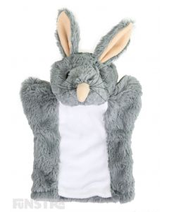 Soft and cuddly bilby hand puppet with grey and white fur.