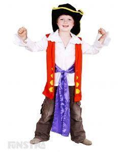 Sing and dance like a pirate with Emma, Lachy, Anthony and Simon as you dress up as the friendly pirate, Captain Feathersword, complete with shirt featuring mock vest and waist tie sash, pants and pirate hat!
