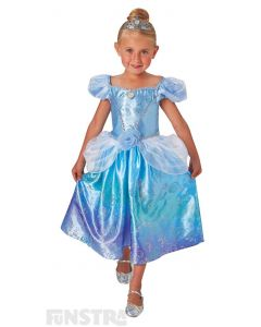 Bibbidi-Bobbidi-Boo! Slide into your glass slipper and get ready to meet Prince Charming as you dress up as Cinderella with this beautiful Disney Princess costume for children.