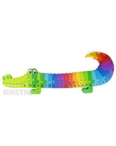 Toddlers and preschoolers can learn the alphabet with the rainbow crocodile wooden alphabet puzzle that encourages imaginative play and learning.