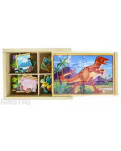 Four puzzles feature the T Rex, Apatosaurus, Triceratops and Stegosaurus dinosaurs and come packed in a wooden box to assemble and frame the puzzle.