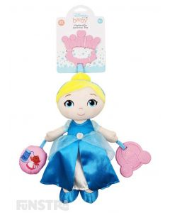The Cinderella activity toy helps to develop your little one's senses and fine motor skills with a rattle, squeaker and teether from Disney Baby.