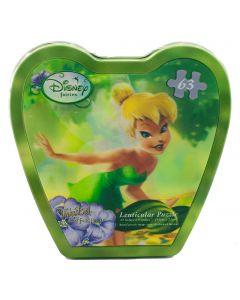 A gorgeous design of Tinker Bell on this lenticular puzzle that consists of 63 fully interlocking puzzle pieces.