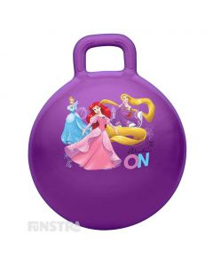 Bounce and hop around with Cinderella, Ariel from The Little Mermaid and Rapunzel from Tangled  on a bouncy purple hopper ball featuring the princesses surrounding flowers, a clock and magical kingdom castle.