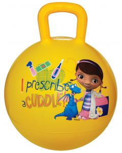 Bounce up and down with Doc McStuffins and Stuffy the toy dragon on a yellow hopper ball.