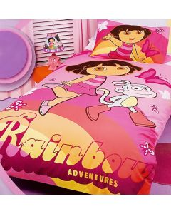 Rainbow adventures with Dora, Boots the monkey and butterflies as they skip along together available for twin single beds.