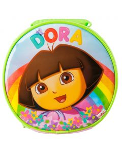 Great for school lunches, the round insulated Dora lunch bag will keep your lunchbox cool and features Dora in front of a rainbow with flowers.
