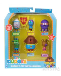 The superhero mini figure set features Duggee and the squirrels Roly, Tag, Betty, Happy and Norrie wearing their superhero costumes.