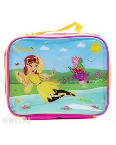 Emma Wiggle and Dorothy the Dinosaur are fairies on this gorgeous Wiggles insulated lunch bag