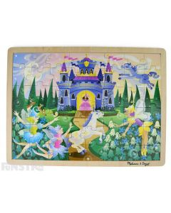Learn and play with the Melissa & Doug puzzle featuring a magical scene of fairies and unicorns.