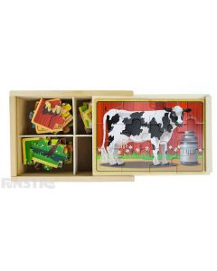 Four puzzles feature the horse, cow, chicken and pig farm animals and come packed in a wooden box to assemble and frame the puzzle.