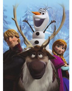 Fleecy throw blanket features ice havester Kristoff, Sven the reindeer, Olaf the snowman and Princess Anna of Arendelle.