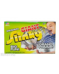 The giant original metal slinky walking spring toy offers big fun for girls and boys and comes packaged in a box, making a perfect gift for children.