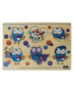 Little fans of Hoot the owl can develop fine motor skills and hand-eye co-ordination with this wooden pin puzzle, consisting of 6 puzzle pieces, perfect for little hands.