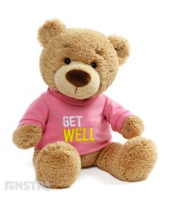 Send a huggable get well message with a premier GUND teddy bear wearing an embroidered pink shirt.