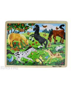 Learn and play with the Melissa & Doug puzzle featuring a beautiful scene of horses and ponies frolicking in the paddock amongst butterflies, birds and bunny rabbits.