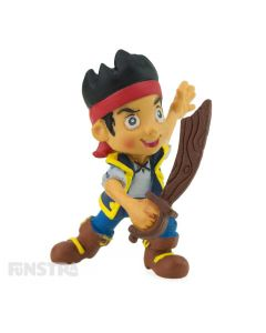 In costume, wearing his red bandana with sword in hand young pirate, Captain Jake, is ready to protect Never Land  for some fun imaginative play or makes a cute cake topper for your Jake and the Never Land Pirates party.