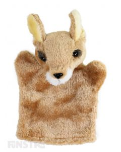 Soft and cuddly kangaroo hand puppet with brown, beige and white fur.