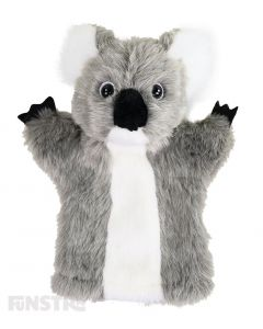 Adorable, soft and cuddly koala hand puppet with grey and white fur.