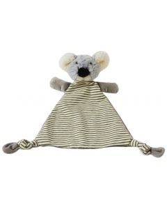 The koala security blanket is striped grey and white and features an adorable plush koala toy companion, soother and comfort object for infants.