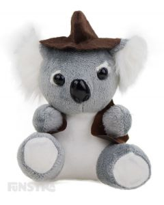 A true jolly swagman of Australia is the swaggie koala mini plush beanie toy, wearing a hat and jacket.