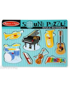 Hear the sounds of musical instruments with this fun sound jigsaw puzzle from Melissa & Doug, featuring a trumpet, piano, tuba, guitar, xylophone, violin, harmonica and drums.