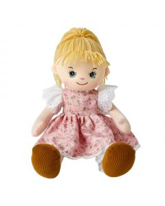 Amy is an outdoor loving rag doll with natural beauty and wears a pink floral dress with her blonde hair tied back in a ponytail and loves the beach and horse riding.