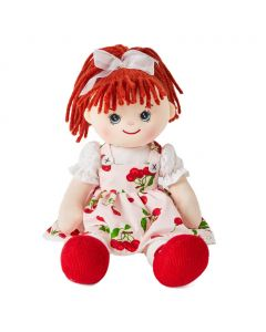 Avery is a super sweet rag doll with a soft cloth body and bright red hair tied in a ponytail and wears a beautiful cherry print dress and loves to do puzzles and climb trees.