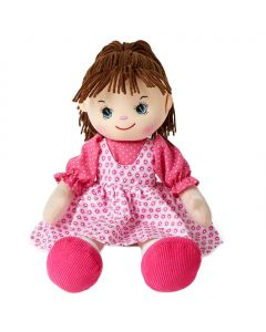 Caroline is an adorable rag doll with brown hair and wears a pink pinafore dress and loves watching cartoons and playing dress-ups.