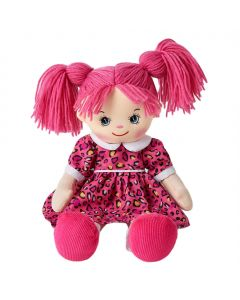 Claire is a funky rag doll with pink hair and wears a pink leopard dress and loves to eat ice cream and play soccer.
