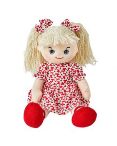 Elsie is a sweet rag doll with style and wears a floral red and white dress with matching bows in her curly blonde hair with red shoes.