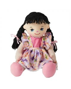Emily is a wonderful rag doll with black plaited hair and wears a floral purple dress and loves painting, arts and crafts.